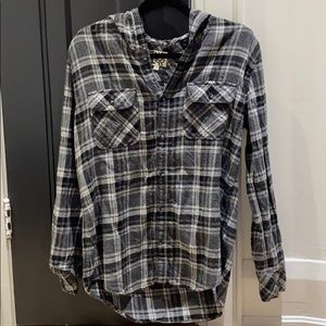 TNA Hooded Button Up Gray Flannel
